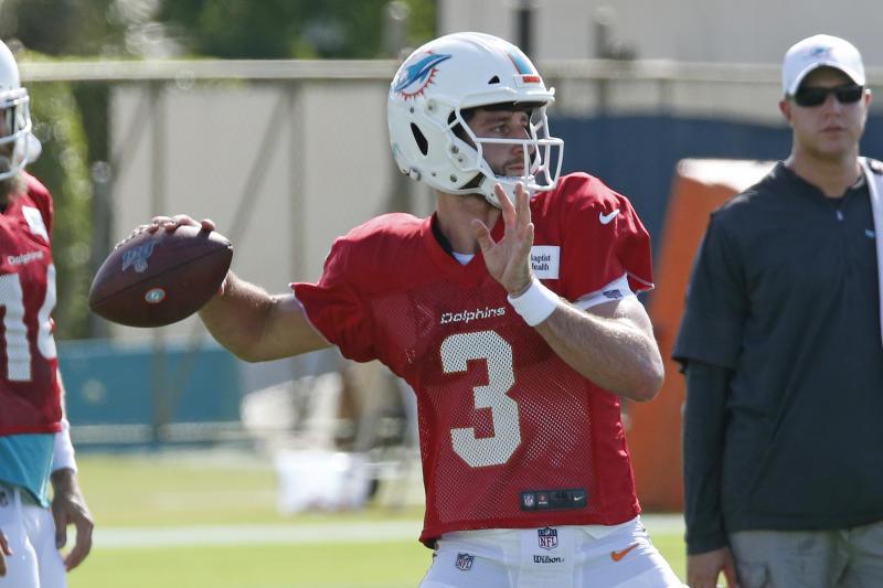 DAVIE, FL - JULY 27: Josh Rosen #3 of the Miami Dolphins throws the ball during the Miami Dolphins Training Camp on July 27, 2019 at the Miami Dolphins training facility in Davie, Florida. (Photo by Joel Auerbach/Getty Images)