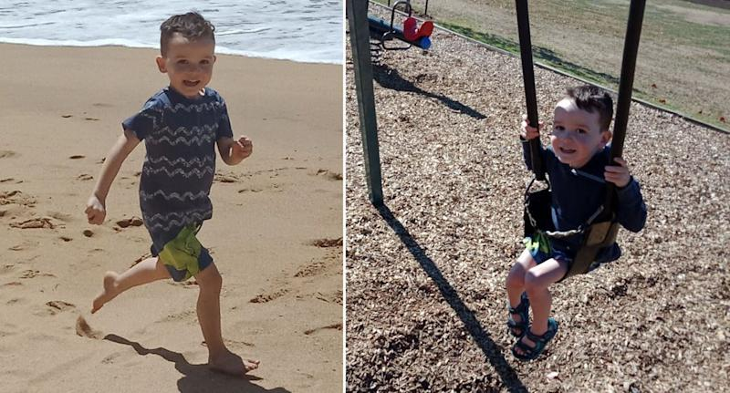 Two photographs of Darragh, who has lived with his Irish family in Australia for more than a decade, running at the beach and playing on a swing set.