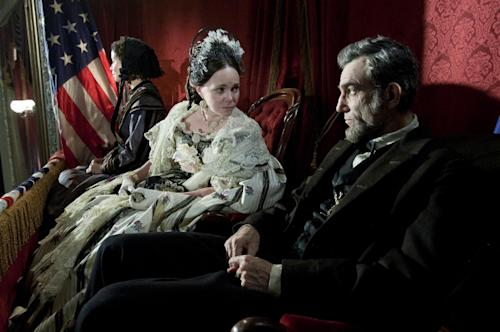 "This image released by DreamWorks II Distribution Co., LLC and Twentieth Century Fox Film Corporation shows Sally Field and Daniel Day-Lewis appear in a scene from ""Lincoln."" Fields was nominated for an Academy Award for best supporting actress and Lewis was nominated for best actor on Thursday, Jan. 10, 2013, for their roles in ""Lincoln."" The 85th Academy Awards will air live on Sunday, Feb. 24, 2013 on ABC. (AP Photo/DreamWorks II Distribution Co., LLC and Twentieth Century Fox Film Corporation, David James)"