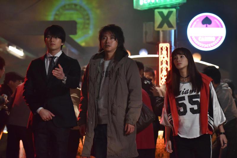 Minato Hirose (Mackenyu Arata), Kaiji Ito (Tatsuya Fujiawara), and Kanako Kirino (Nagisa Sekimizu) in Kaiji: Final Game. (PHOTO: Encore Films)