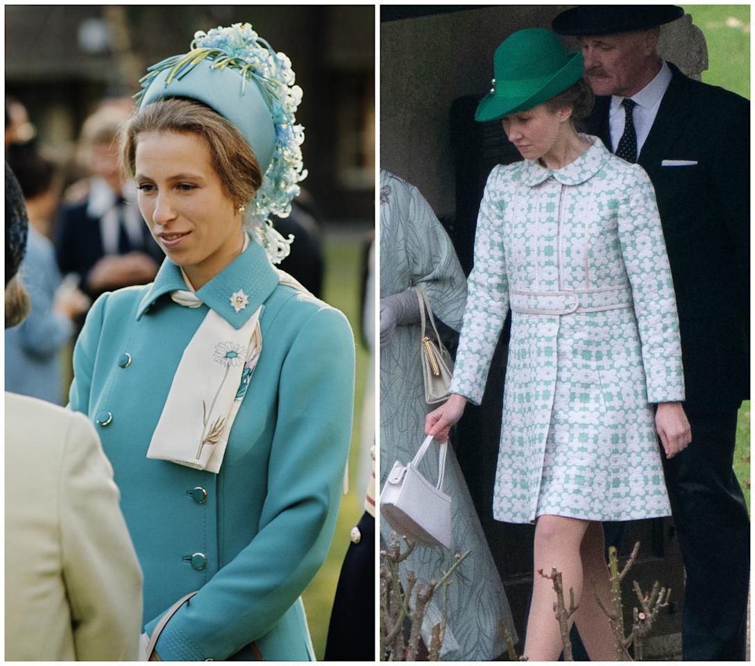 <p>Meanwhile Erin Doherty looked almost identical to Princess Anne in the snaps. Photo: Media Mode </p>
