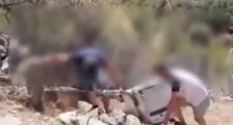 Men shown in Spain struggling to get a fridge back up a cliff after it was initially pushed down there.