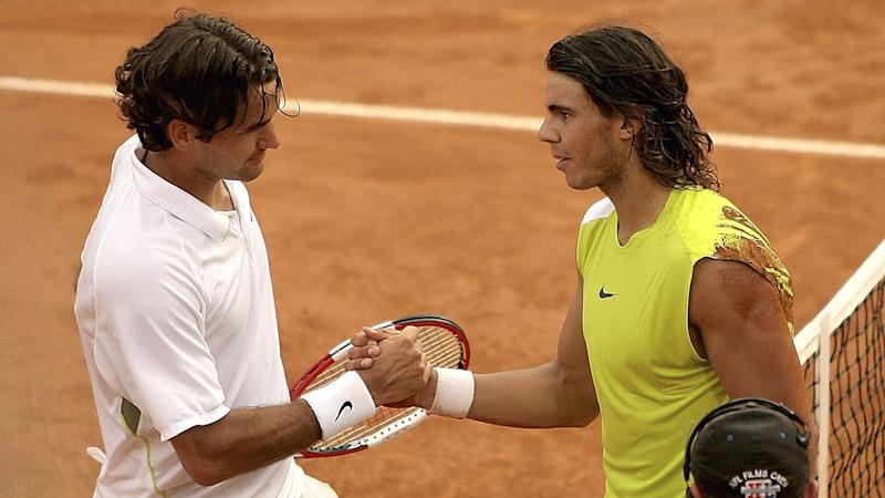Roger Federer and Rafael Nadal played a five-hour epic at the 2006 Rome Masters final. Pic: Getty