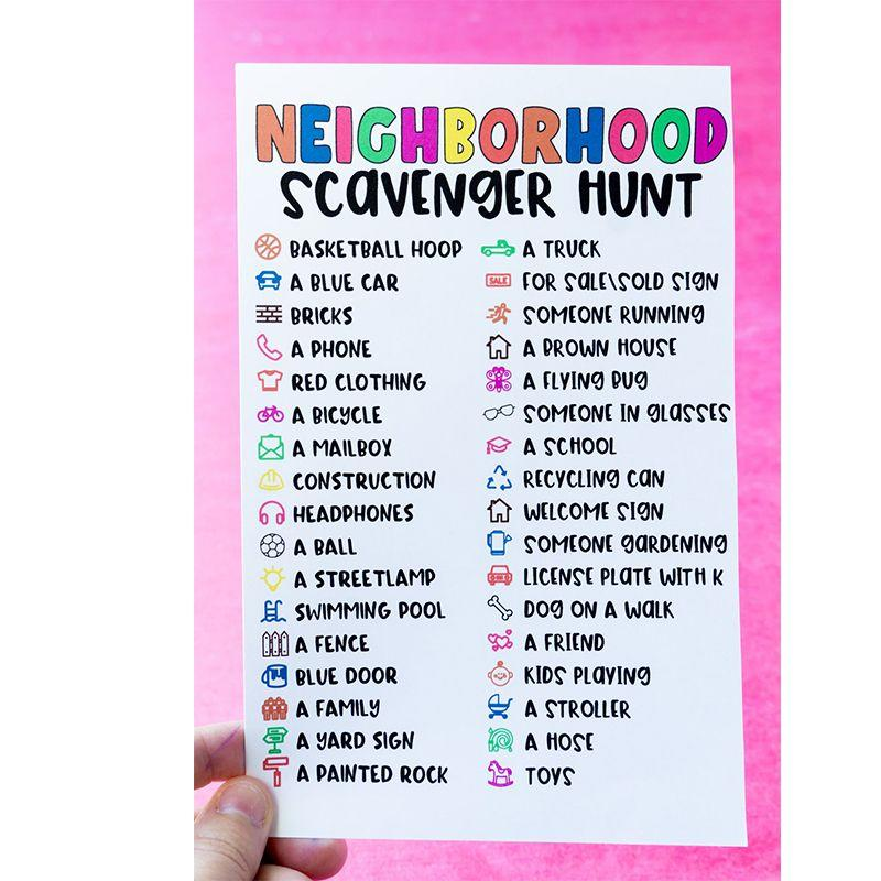 "<p>Take a break from work and get outside with the kids for this fun neighborhood scavenger hunt. You and the kids will get some fresh air while they race to complete the list.</p><p><em>Get the tutorial at <a href=""https://www.playpartyplan.com/neighborhood-scavenger-hunt/"" target=""_blank"">Play Party Plan.</a></em></p>"