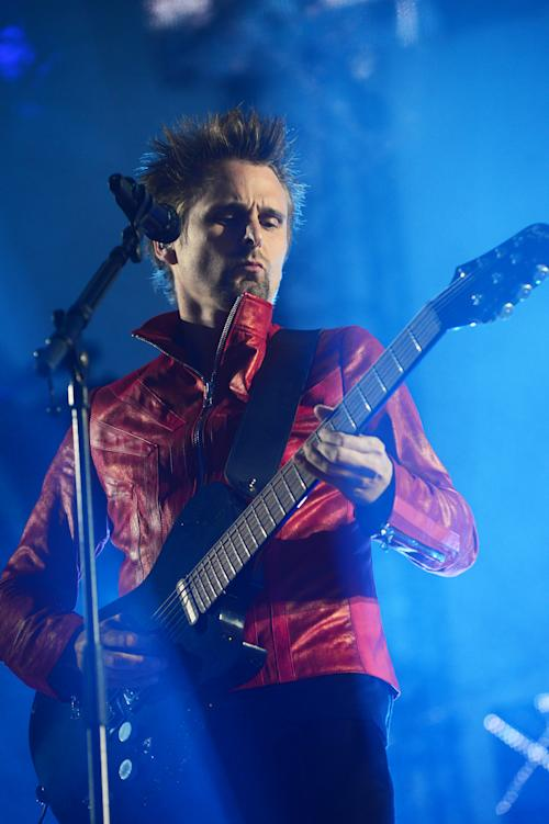 Matt Bellamy performs with Muse during the band's live performance at the Horse Guards Parade following the World Premiere of 'World War Z' in London on Sunday June 2, 2013. (Photo by Jon Furniss/Invision/AP Images)