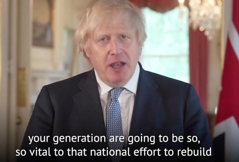 Boris Johnson addressing 2020 school leavers: Downing Street