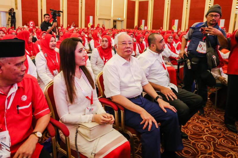 Datuk Seri Najib Razak attends the 2019 Umno General Assembly at Putra World Trade Centre in Kuala Lumpur December 5, 2019. — Picture by Firdaus Latif