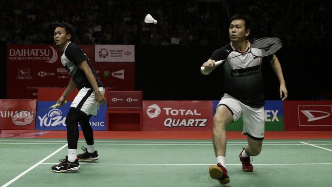 Ganda putra Indonesia, Mohammad Ahsan/Hendra Setiawan. (Bola.com/Yoppy Renato)