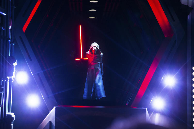 Guests come face to face with First Order Supreme Leader Kylo Ren as they race through a Star Destroyer in Star Wars: Rise of the Resistance, the groundbreaking new attraction opening Dec. 5, 2019, inside Star Wars: Galaxy's Edge at Disney's Hollywood Studios in Florida and Jan. 17, 2020, at Disneyland Park in California. (Steven Diaz, photographer)