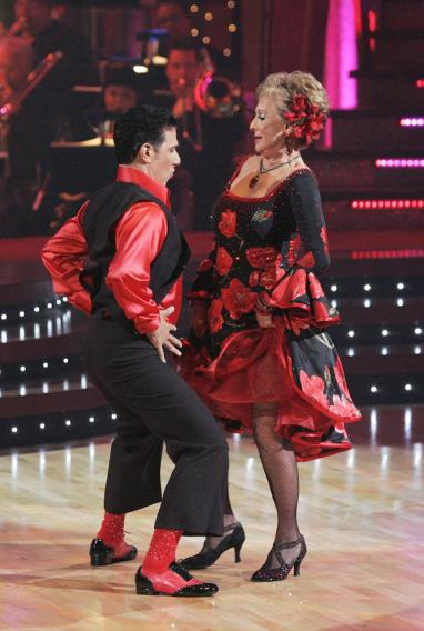 Corky Ballas and Cloris Leachman perform a dance on the seventh season of Dancing with the Stars.