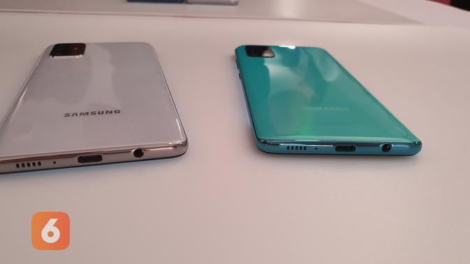 Galaxy A71 dan Galaxy A51 menggunakan port USB tipe C untuk pengisian daya, disertai dengan jack headphone 3,5mm (Liputan6.com/ Agustin Setyo W).