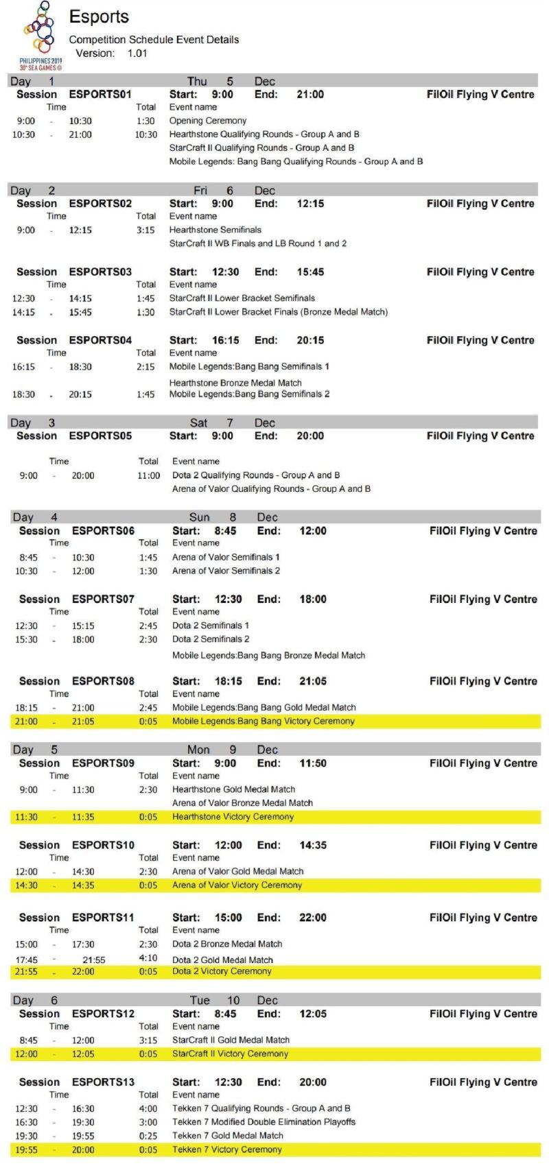 SEA Games Esports schedule