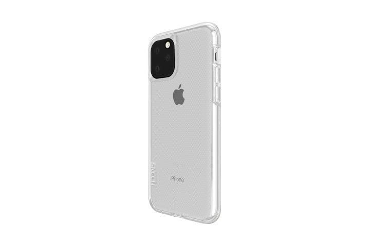 Photo shows the side view of an iPhone 11 in a clear Matrix case from Skech