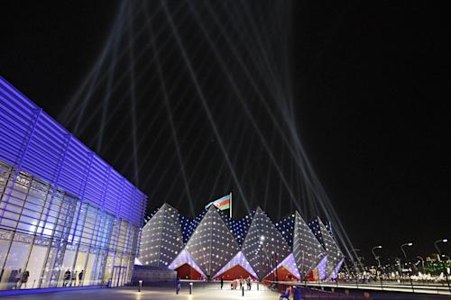 The Baku Crystal Hall is lit by lights prior to the final show of the 2012 Eurovision Song Contest at the Baku Crystal Hall in Baku, Saturday, May 26, 2012. (AP Photo/Sergey Ponomarev)