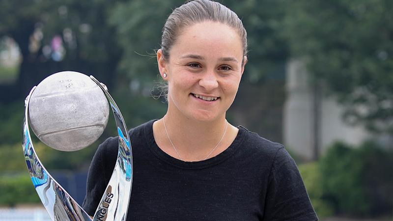 Ashleigh Barty with the World No.1 trophy at Eastbourne. (Photo by Paul Harding/Getty Images for LTA)