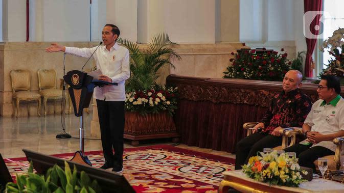 Presiden Joko Widodo memberikan sambutan saat pembukaan Asian Agriculture and Food Forum (ASAFF) 2020 di Istana Negara, Rabu (12/3/2020). ASAFF hasil kolaborasi antarnegara dan antarpebisnis di kawasan Asia untuk membangun kemandirian pertanian dan ketahanan pangan. (Liputan6.com/Faizal Fanani)