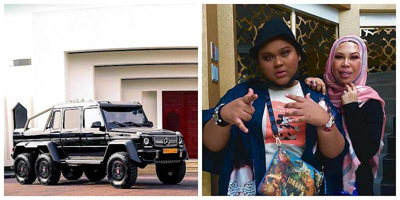 Cosmetics mogul Datuk Seri Vida offered her daughter Cik B a RM2.1 million Mercedes SUV if she manages to lose weight and becomes fair-skinned. — Picture courtesy of Instagram/ cikb_havoc66 and k_cars