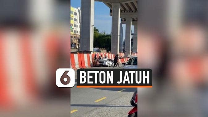 VIDEO: Pengemudi Selamat Usai Mobilnya Tertimpa Beton Jalan Layang