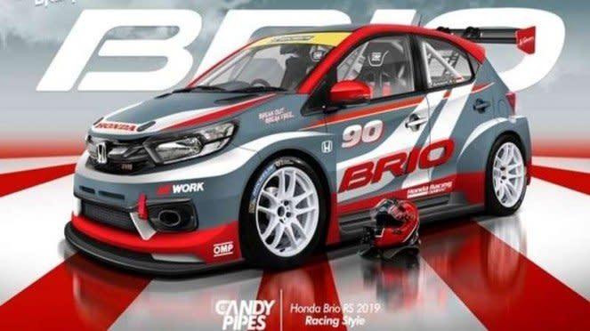 Ilustrasi modifikasi Honda Brio dengan tema sporty