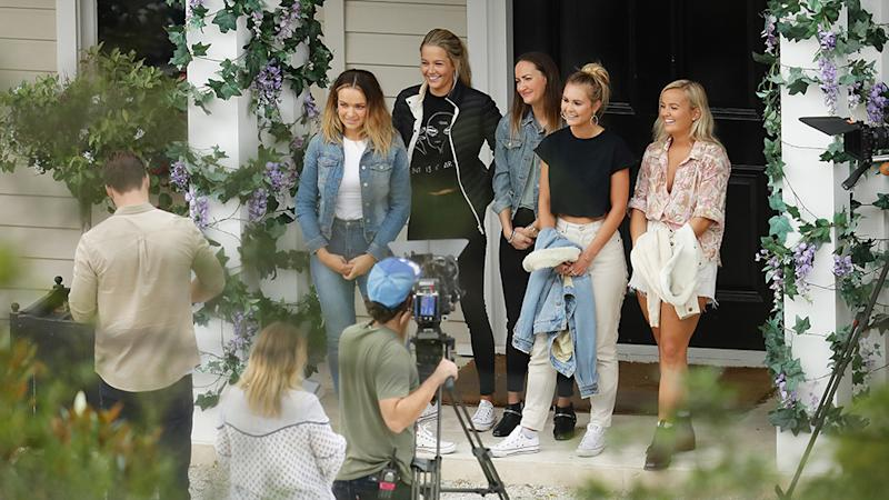 Bachelor Matt Agnew pictured with the final five contestants Abbie Chatfield, Helena Sauzier, Emma Roche, Chelsie Roche and Elly Miles at the Bachelor Mansion and ahead of home visits. Photo: Matrix