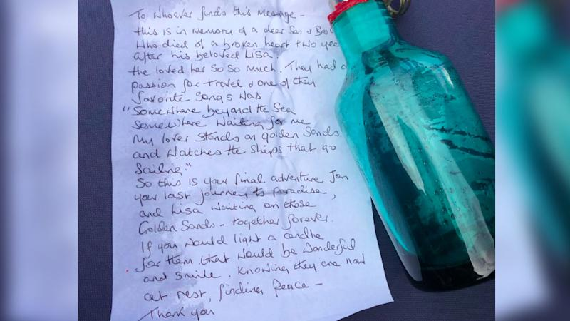 The message in the bottle from the Thames pays tribute to a loving couple Jon and Lisa. Source: Twitter/James Herring