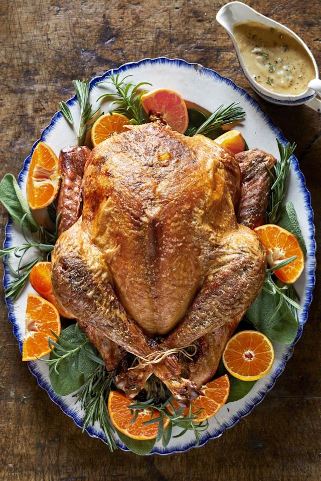 """<p>Of course, it all starts with the perfect turkey—and you've definitely found it here. We swap out butter for olive oil, and keep the salt low, but, garnished with clementines and rosemary, this crispy bird is still flavorful. And it's practically an edible <a href=""""https://www.countryliving.com/entertaining/g2130/thanksgiving-centerpieces/"""">table centerpiece</a>.</p><p><strong><a href=""""https://www.countryliving.com/food-drinks/a29130091/seasoned-roasted-turkey-recipe/"""">Get the recipe</a>.</strong></p><p><strong><a class=""""body-btn-link"""" href=""""https://www.amazon.com/dp/B000FDN1RG/?tag=syn-yahoo-20&ascsubtag=%5Bartid%7C10050.g.33370793%5Bsrc%7Cyahoo-us"""" target=""""_blank"""">SHOP PLATTERS</a><br></strong></p>"""