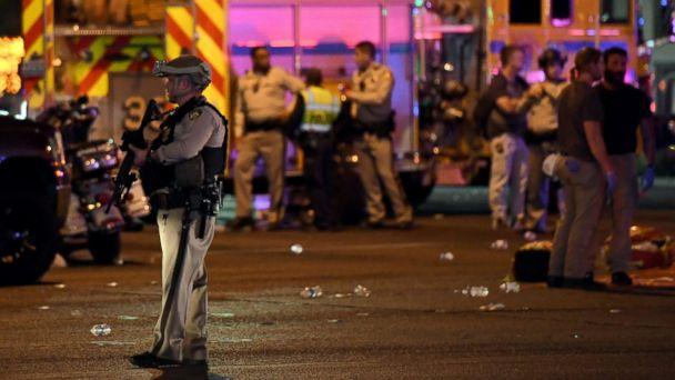 PHOTO: A police officer stands in the intersection of Las Vegas Boulevard and Tropicana Ave. after a mass shooting at a country music festival nearby on Oct. 2, 2017, in Las Vegas. (Ethan Miller/Getty Images)