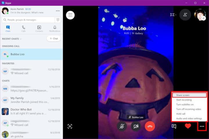 Skype Desktop Share Screen Recent Chats Off