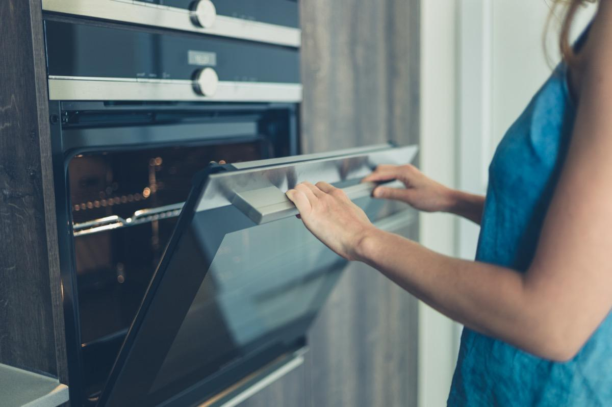 """Those oven brackets aren't just there to position that appliance between your cabinets. Taylor says they're there """"to keep it from tipping forward when you pull your 20-pound turkey out of the oven."""""""