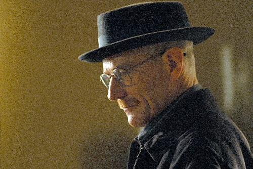 "This image released by AMC shows Walter White, played by Bryan Cranston, wearing a Bollman 1940's pork pie hat in a scene from the second season of ""Breaking Bad."" The series finale of the popular drama series aired on Sunday, Sept. 29. (AP Photo/AMC, Ursula Coyote)"