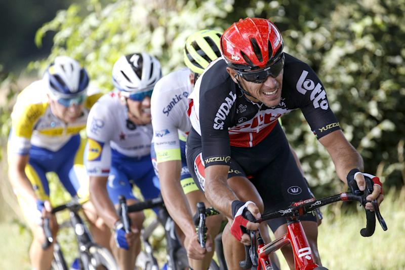 Lotto Soudal's Philippe Gilbert pushes the pace at the 2020 Tour de Wallonie