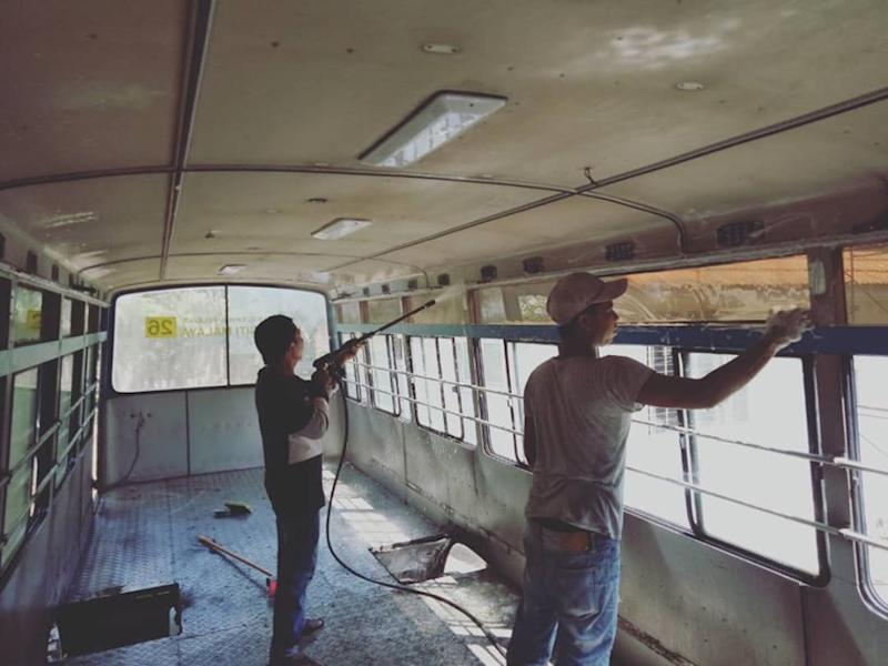 Contractors were commissioned for the refurbishment work to turn the bus into a tiny home. — Photo via Facebook/ Rumah No.2, Universiti Malaya