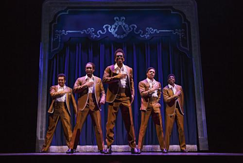 "This theater image released by Boneau/Bryan-Brown shows, from left, Jesse Nager, Donald Webber, Jr., Julius Thomas III, Ephraim M. Sykes and Jawan M. Jackson portraying The Temptations in ""Motown: The Musical,"" performing at the Lunt-Fontanne Theatre in New York. (AP Photo/Boneau/Bryan-Brown, Joan Marcus)"