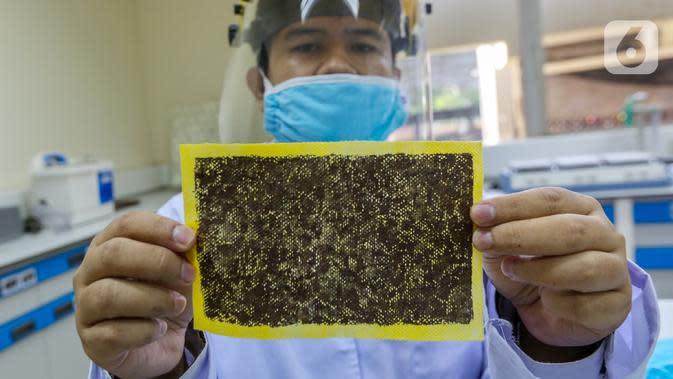 Peneliti menunjukkan kain berlapis tembaga untuk masker kain disinfektor di Pusat Penelitian Fisika LIPI Puspitek, Serpong, Tangerang Selatan, Senin (8/6/2020). Tim peneliti berhasil mengembangkan masker yang mampu membunuh bakteri dan virus (mikroorganisme). (Liputan6.com/Fery Pradolo)