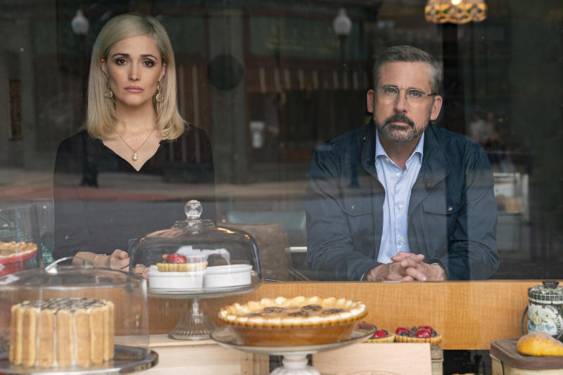 "In this image released by Focus Features, Steve Carell, right, and Rose Byrne appear in a scene from ""Irresistible."" (Daniel McFadden/Focus Features via AP)"