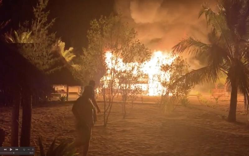 View of the fire that tore through the island, and which was started by jihadists seeking to grow their influence in Africa