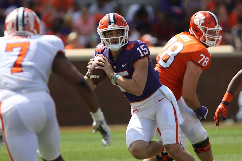 CLEMSON, SC - APRIL 14: Hunter Johnson (15) looks to throw a pass during action in the Clemson Spring Football game at Clemson Memorial Stadium on April 14, 2018 in Clemson, SC.. (Photo by John Byrum/Icon Sportswire via Getty Images)