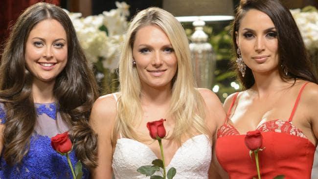 A photo of The Bachelor Australia 2015 final three: Lana Jeavons-Fellows, Sarah Mackay and Snezana Markoski.
