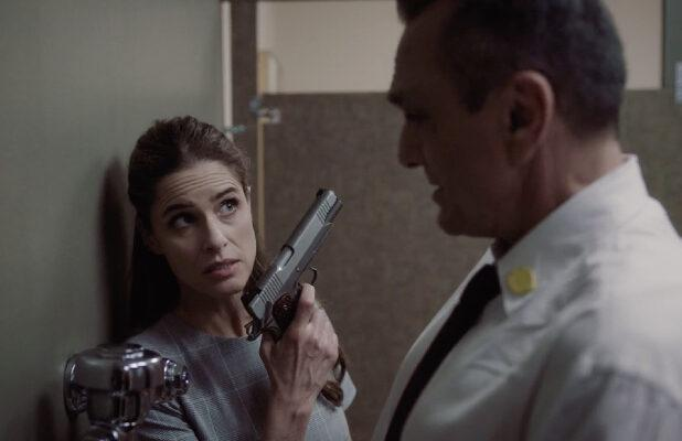 'Brockmire': Jules Pulls a Gun on Jim While He's Just Trying to Take a Leak (Exclusive Video)
