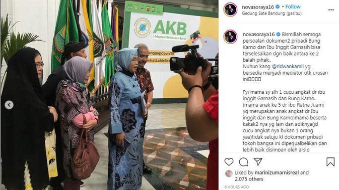 Nova Soraya bersama keluarga besar Inggit Garnasih bertemu dengan Ridwan Kamil (Dok.Instagram/@novasoraya16/https://www.instagram.com/p/CFrDe5OHEsU/Komarudin)