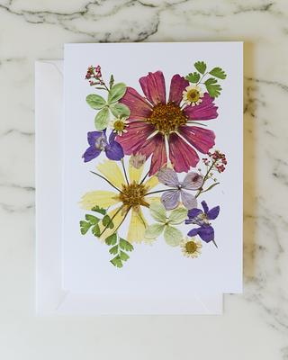 going to college BON VOYAGE card relocation Botanical art travel Moving Greeting card Pressed flower notecard