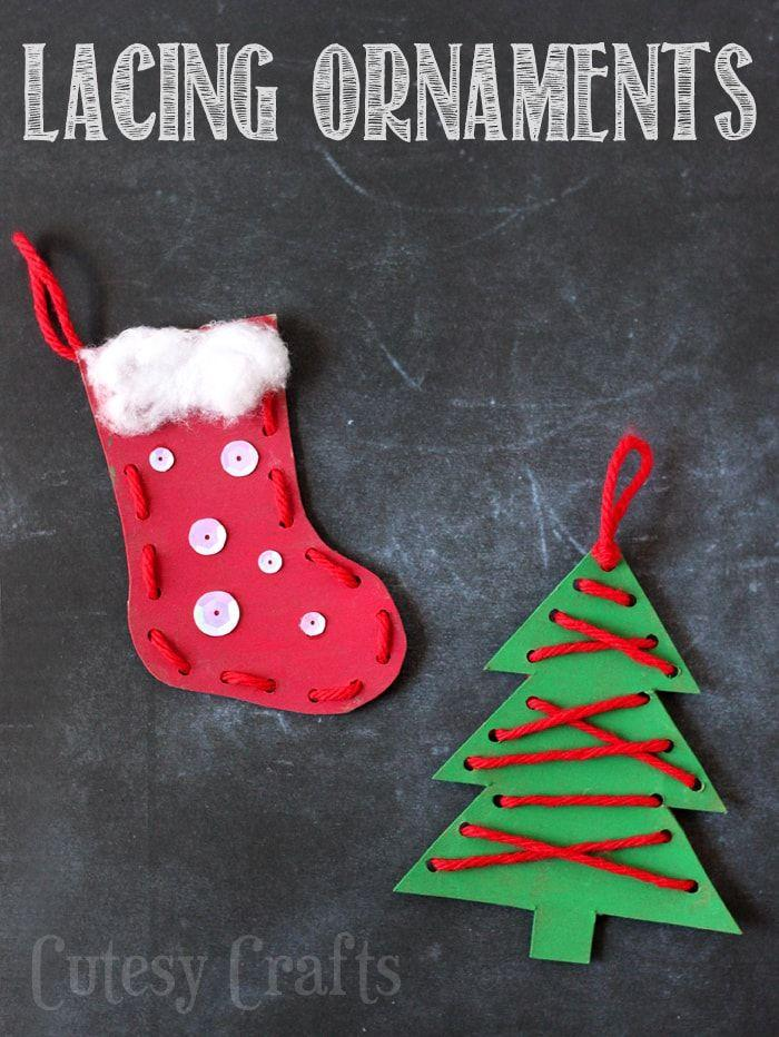 "<p>Cut shapes out of chip board — or even an upcylced cereal box — and then punch holes along the perimeter. Let kids paint them and then lace them up with yarn for festive ornaments.</p><p><em><a href=""https://cutesycrafts.com/2015/11/christmas-craft-for-kids-lacing-ornaments.html"" target=""_blank"">Get the tutorial at Cutesy Crafts </a></em></p>"