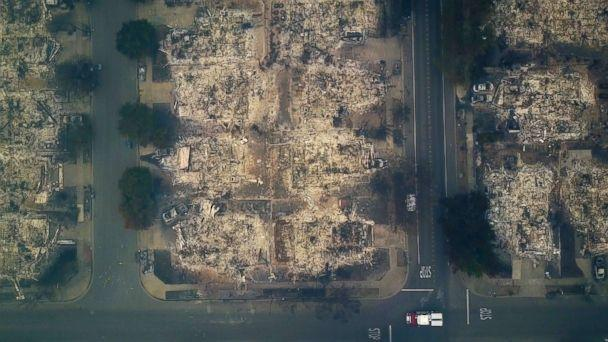 PHOTO: This aerial image shows a neighborhood that was destroyed by a wildfire in Santa Rosa, Calif., Oct. 10, 2017. (Nick Giblin/DroneBase via AP)