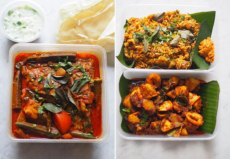 Your fish head curry is packed with a refreshing cucumber 'raita' and 'pappadums' (left). Their takeaway boxes are lined with banana leaves for the 'sotong' and 'satti sorru' (right).