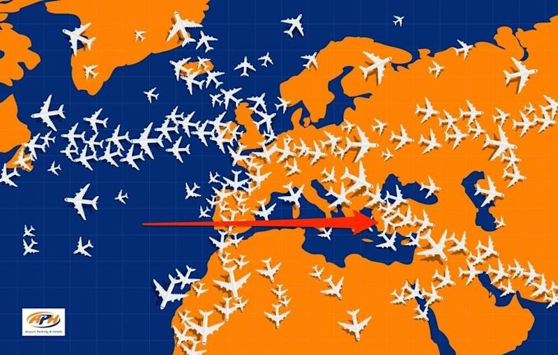The plane is caught up near hundreds of others. Photo: APH
