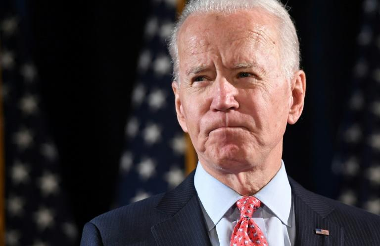 Joe Biden -- seen here at one of his last press events in March 2020 before he hunkered down at his Delaware home to respect anti-virus lockdown measures -- is hard-pressed to get his campaign message out during the crisis