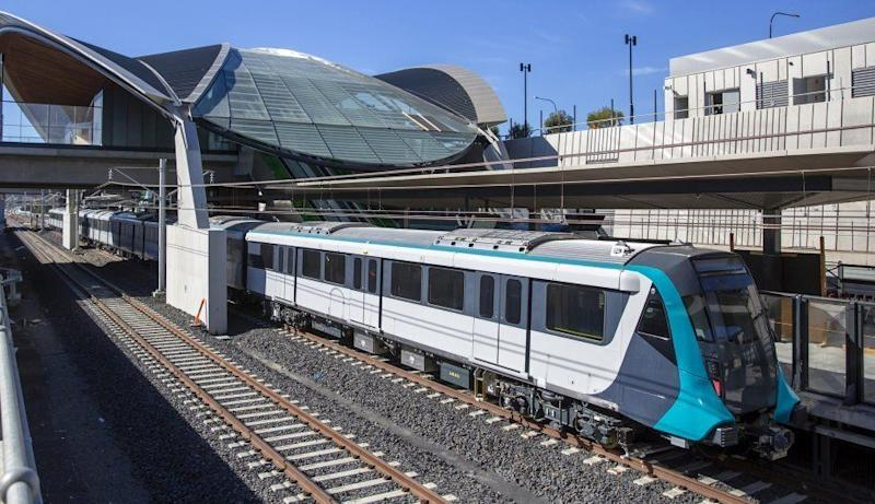A photo of the new driverless train in a station.