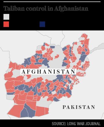 Taliban control in Afghanistan