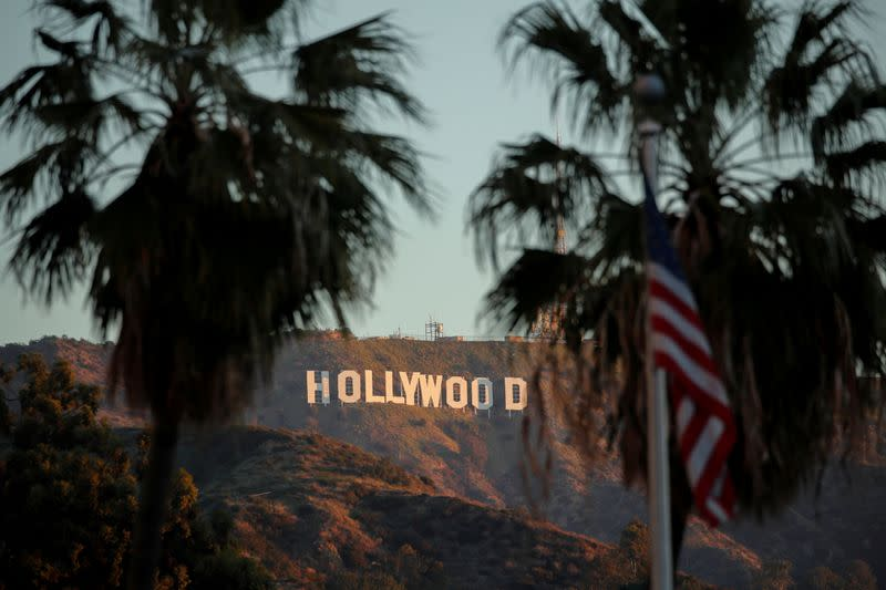 FILE PHOTO: Morning sun rise on the Hollywood sign in Los Angeles, California