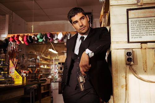 "This image released by the El Rey Network shows D.J. Cotrona as Seth Gecko in a scene from ""From Dusk Till Dawn: The Series,"" premiering Tuesday, March 11, 2014, at 9 p.m. EDT. (AP Photo/El Rey Network)"
